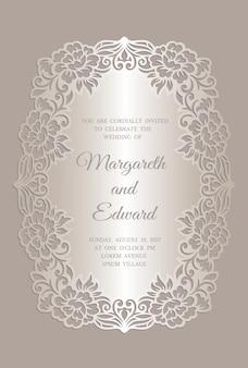 Modelo de cartão de convite de casamento de corte a laser floral. design de moldura de borda ornamentado.