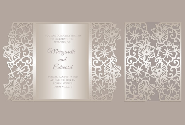 Modelo de cartão de convite de casamento de corte a laser floral dobra de portão. modelo para corte. projeto para corte a laser ou modelo de corte e vinco. maquete de convite de casamento ornamental.