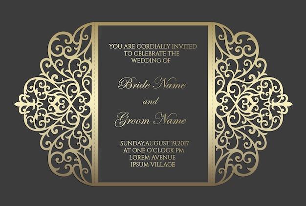 Modelo de cartão de convite de casamento de corte a laser portão dobra. modelo para corte. projeto para corte a laser ou modelo de corte e vinco. maquete de convite de casamento ornamental.