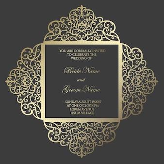 Modelo de cartão de convite de casamento de corte a laser quadrado de quatro dobras. design para corte a laser ou modelo de corte e vinco. maquete de convite de casamento ornamental.