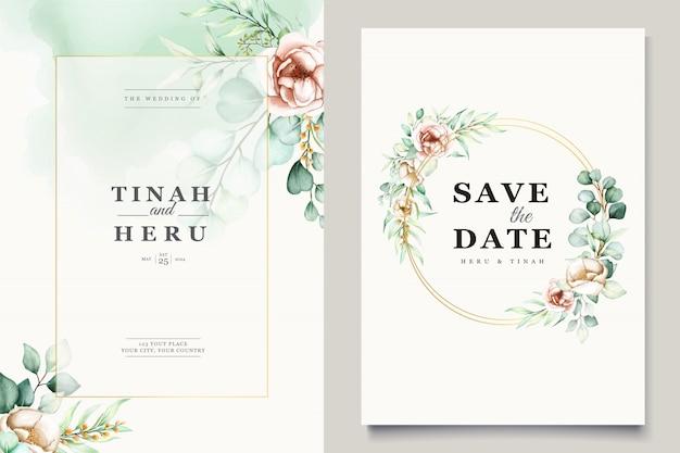 Modelo de cartão de convite de casamento de eucalipto em aquarela