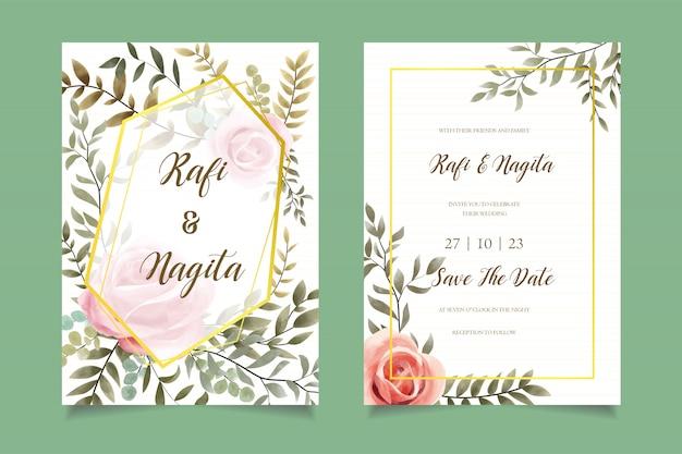Modelo de cartão de convite de casamento de flor aquarela