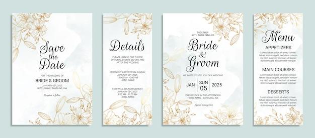 Modelo de cartão de convite de casamento de flor dourada com decoração de folhas em aquarela