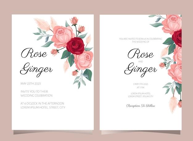 Modelo de cartão de convite de casamento de flor rosa