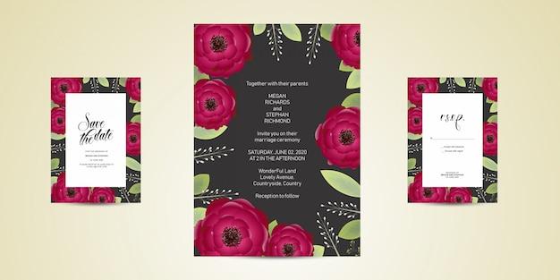 Modelo de cartão de convite de casamento de flor, salvar o cartão de data com rosas