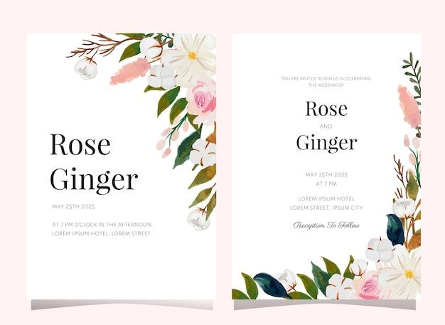 Modelo de cartão de convite de casamento de flores em aquarela