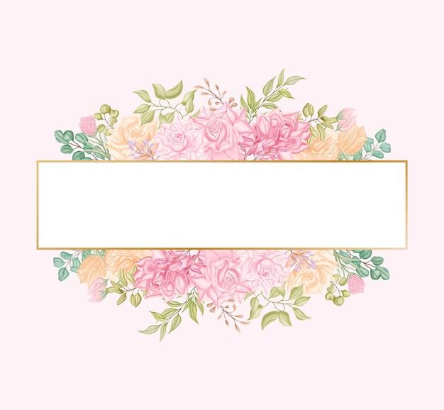 Modelo de cartão de convite de casamento de flores rosa peônia com moldura dourada