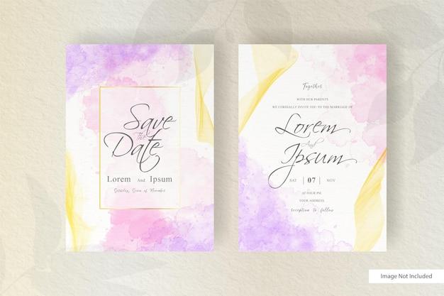 Modelo de cartão de convite de casamento de fluido dinâmico abstrato com decoração em aquarela líquida pintada à mão