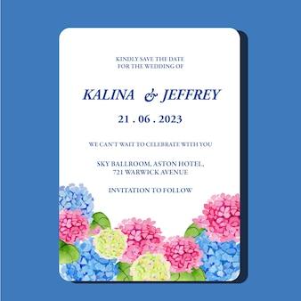 Modelo de cartão de convite de casamento de fronteira de hortênsia em aquarela