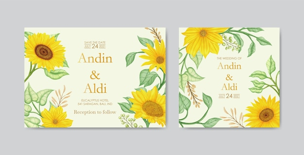 Modelo de cartão de convite de casamento de girassol amarelo aquarela elegante