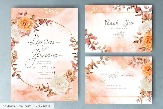 Modelo de cartão de convite de casamento de grinalda floral com flor desenhada à mão e folhas de eucalipto