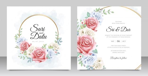 Modelo de cartão de convite de casamento de grinalda floral