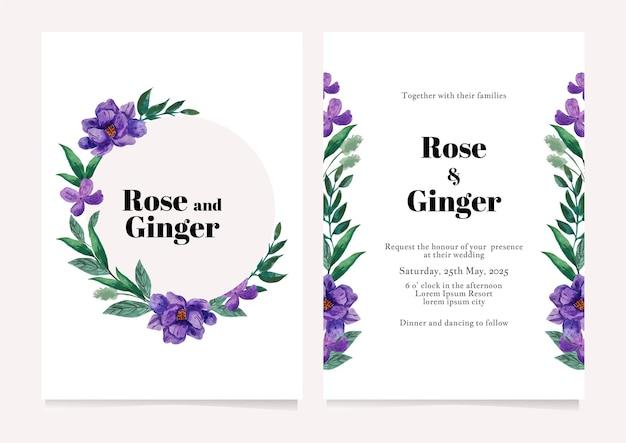 Modelo de cartão de convite de casamento de ilustração em aquarela de flores