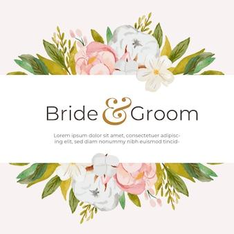 Modelo de cartão de convite de casamento de linda flor em aquarela