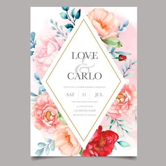 Modelo de cartão de convite de casamento de luxo conjunto com bela aquarela floral
