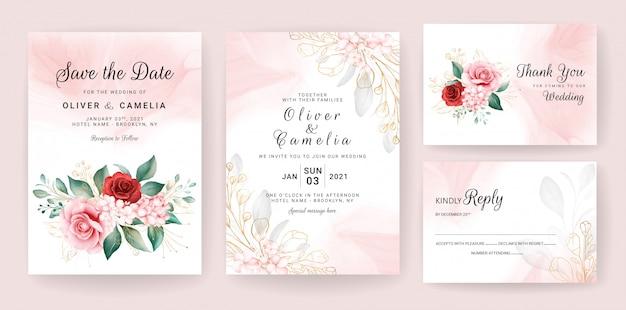Modelo de cartão de convite de casamento de luxo conjunto com decorações florais em aquarela de ouro e glitter.