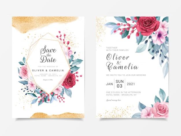 Modelo de cartão de convite de casamento de luxo conjunto com moldura floral geométrica e decoração glitter dourados