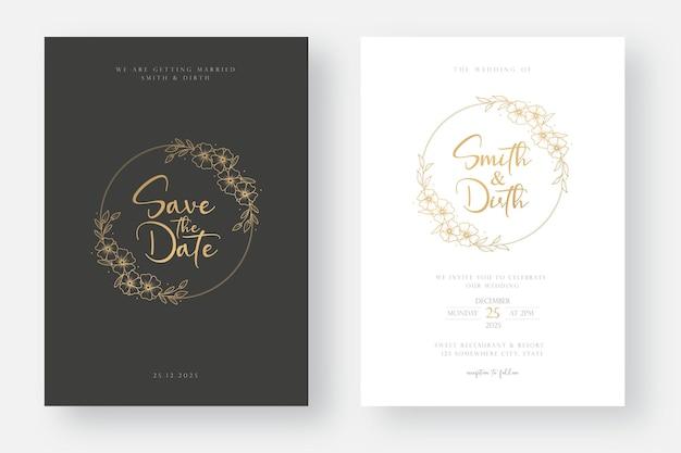 Modelo de cartão de convite de casamento de luxo e mínimo com ilustração de grinalda floral em estilo de arte de linha Vetor Premium