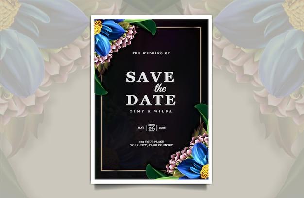 Modelo de cartão de convite de casamento de luxo para salvar a data