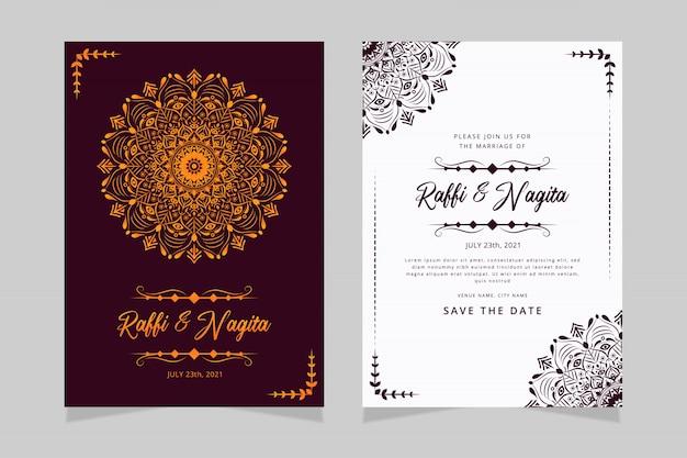 Modelo de cartão de convite de casamento de mandala de flor elegante