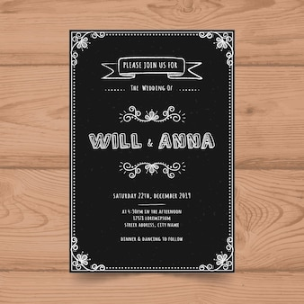Modelo de cartão de convite de casamento de quadro vintage