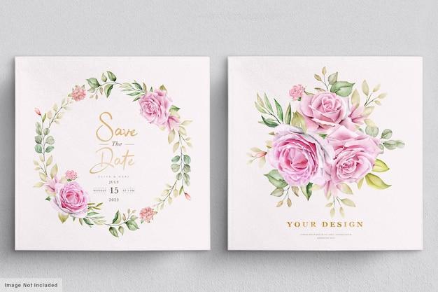 Modelo de cartão de convite de casamento de rosas em aquarela