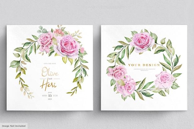 Modelo de cartão de convite de casamento de rosas em aquarela Vetor grátis