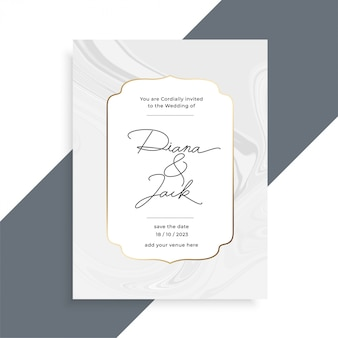 Modelo de cartão de convite de casamento de textura de mármore lindo