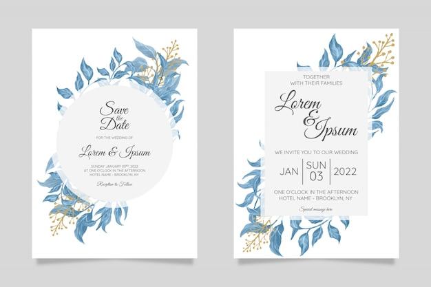 Modelo de cartão de convite de casamento delicada vegetação definida com folhas elegantes moldura decoração