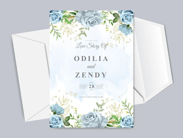 Modelo de cartão de convite de casamento desenhado à mão floral elegante
