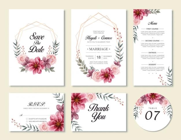 Modelo de cartão de convite de casamento do vintage conjunto com estilo floral flores em aquarela