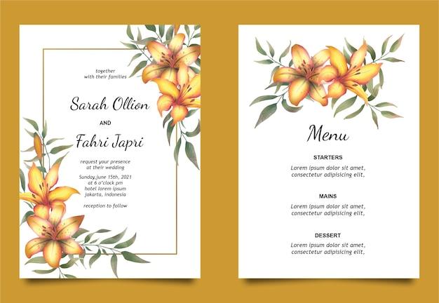 Modelo de cartão de convite de casamento e cartão de menu com bela decoração de flores em aquarela