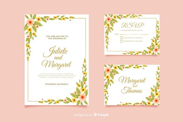 Modelo de cartão de convite de casamento e rsvp