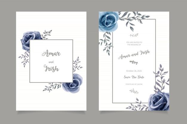 Modelo de cartão de convite de casamento elegante aquarela