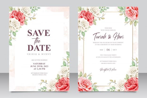 Modelo de cartão de convite de casamento elegante com bela aquarela floral