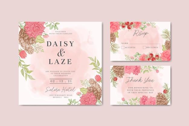 Modelo de cartão de convite de casamento elegante com bela moldura floral em aquarela