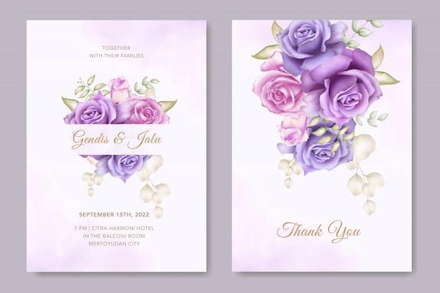 Modelo de cartão de convite de casamento elegante com decoração de flores em aquarela