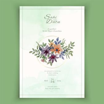 Modelo de cartão de convite de casamento elegante com decoração floral em aquarela