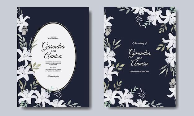 Modelo de cartão de convite de casamento elegante com flor branca azul marinho premium vektor