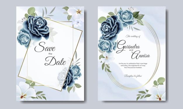 Modelo de cartão de convite de casamento elegante com floral e folhas azul marinho