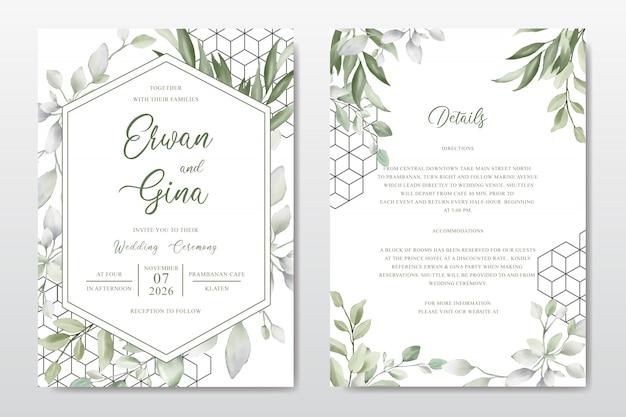 Modelo de cartão de convite de casamento elegante com folhas em aquarela