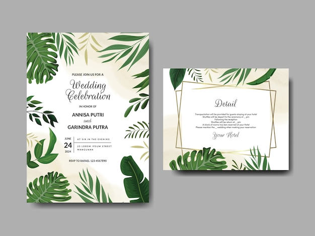 Modelo de cartão de convite de casamento elegante com folhas tropicais