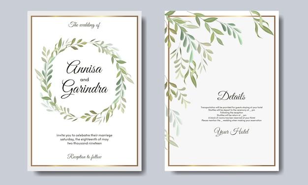 Modelo de cartão de convite de casamento elegante com lindas folhas florais