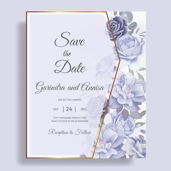 Modelo de cartão de convite de casamento elegante com lindos florais e folhas