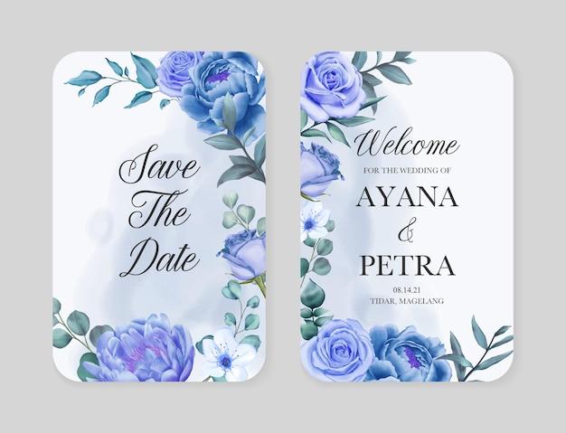 Modelo de cartão de convite de casamento elegante com moldura floral azul aquarela