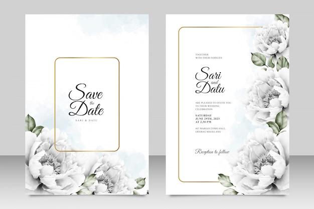 Modelo de cartão de convite de casamento elegante com peônias aquarel