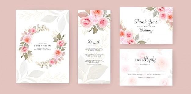 Modelo de cartão de convite de casamento elegante conjunto com aquarela e decoração floral. flores fundo para histórias de mídia social, salve a data, saudação, rsvp, obrigado