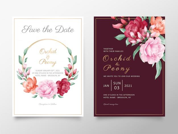 Modelo de cartão de convite de casamento elegante conjunto com aquarela rosas e peônias flores