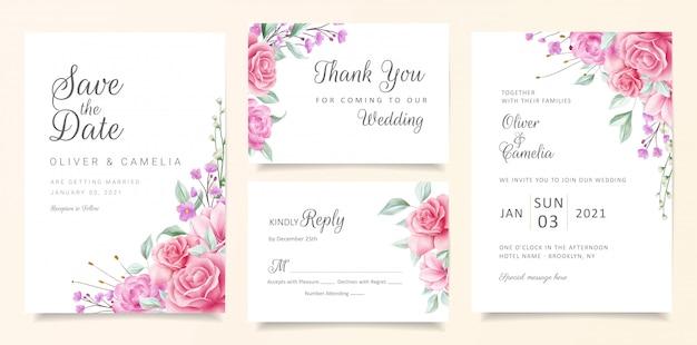Modelo de cartão de convite de casamento elegante conjunto com arranjos de borda floral