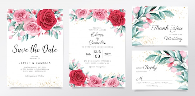 Modelo de cartão de convite de casamento elegante conjunto com decoração de flores em aquarela